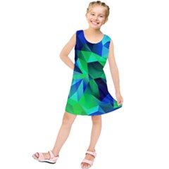 Galaxy Chevron Wave Woven Fabric Color Blu Green Triangle Kids  Tunic Dress by Jojostore