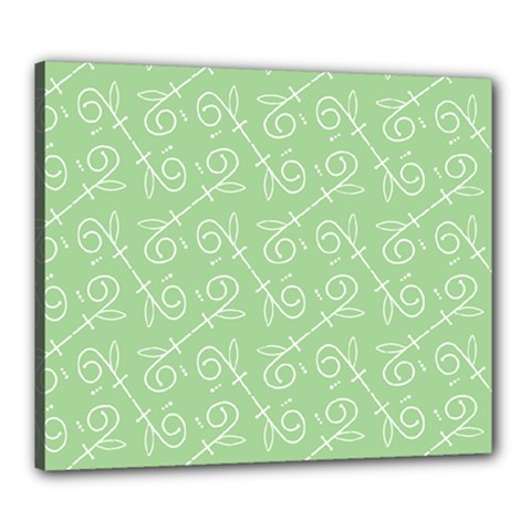 Formula Leaf Floral Green Canvas 24  X 20  by Jojostore
