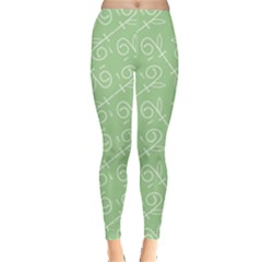 Formula Leaf Floral Green Leggings  by Jojostore