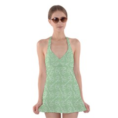 Formula Leaf Floral Green Halter Swimsuit Dress by Jojostore