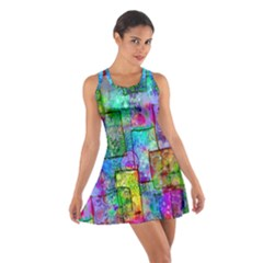 Rainbow Floral Doodle Cotton Racerback Dress by KirstenStar