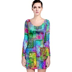 Rainbow Floral Doodle Long Sleeve Velvet Bodycon Dress by KirstenStar