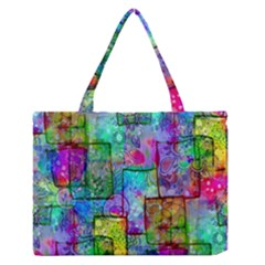 Rainbow Floral Doodle Medium Zipper Tote Bag by KirstenStar