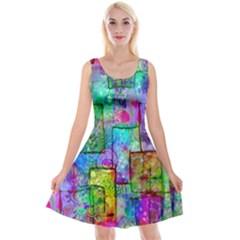 Rainbow Floral Doodle Reversible Velvet Sleeveless Dress by KirstenStar
