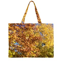 Autumn Leaves With Kitty Zipper Large Tote Bag by SusanFranzblau