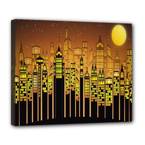 Buildings Skyscrapers City Deluxe Canvas 24  X 20   by Nexatart