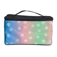 Christmas Happy Holidays Snowflakes Cosmetic Storage Case by Nexatart