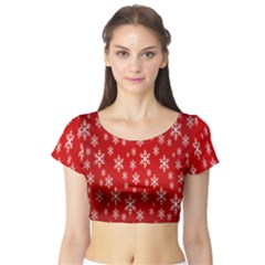 Christmas Snow Flake Pattern Short Sleeve Crop Top (tight Fit)