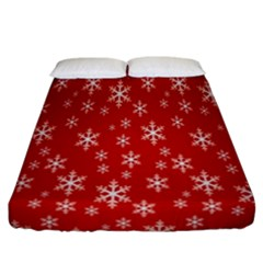 Christmas Snow Flake Pattern Fitted Sheet (california King Size) by Nexatart