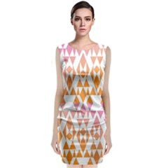 Geometric Abstract Orange Purple Pattern Classic Sleeveless Midi Dress