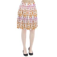 Geometric Abstract Orange Purple Pattern Pleated Skirt by Nexatart