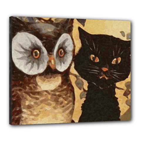 Owl And Black Cat Canvas 24  X 20  by Nexatart
