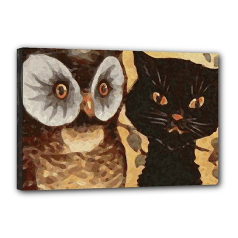 Owl And Black Cat Canvas 18  X 12  by Nexatart