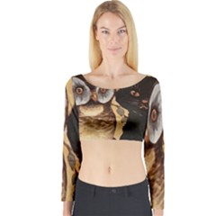Owl And Black Cat Long Sleeve Crop Top