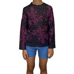 Pink Floral Pattern Background Wallpaper Kids  Long Sleeve Swimwear