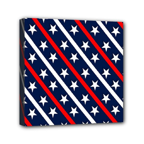 Patriotic Red White Blue Stars Mini Canvas 6  X 6  by Nexatart