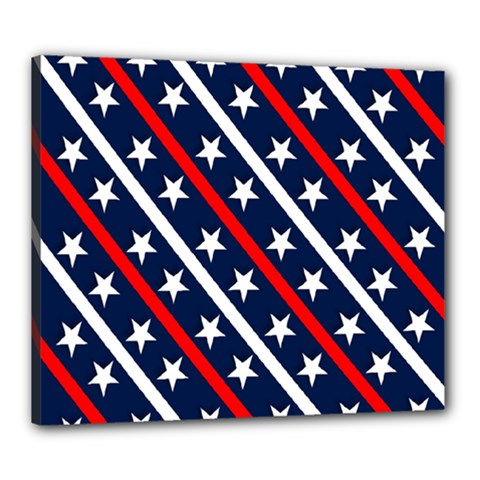 Patriotic Red White Blue Stars Canvas 24  X 20  by Nexatart
