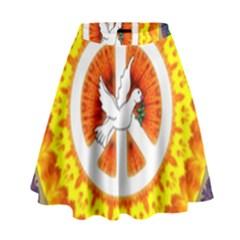 Peace Art Artwork Love Dove High Waist Skirt by Nexatart