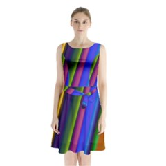 Strip Colorful Pipes Books Color Sleeveless Chiffon Waist Tie Dress by Nexatart