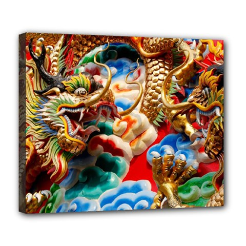 Thailand Bangkok Temple Roof Asia Deluxe Canvas 24  X 20   by Nexatart