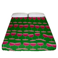 Wine Red Champagne Glass Red Wine Fitted Sheet (california King Size)