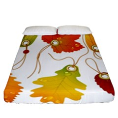 Vector Beautiful Maple Leaf Fitted Sheet (California King Size)