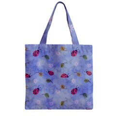 Ladybug Blue Nature Zipper Grocery Tote Bag