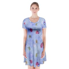 Ladybug Blue Nature Short Sleeve V Neck Flare Dress by Nexatart