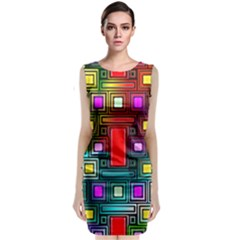 Art Rectangles Abstract Modern Art Classic Sleeveless Midi Dress