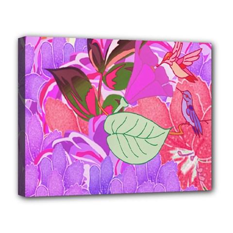 Abstract Flowers Digital Art Canvas 14  X 11
