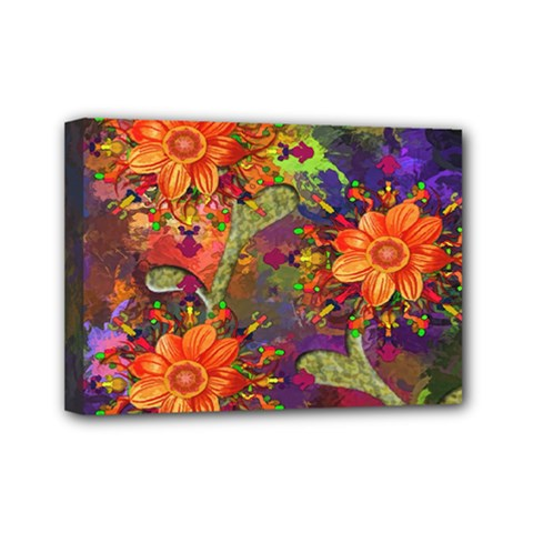Abstract Flowers Floral Decorative Mini Canvas 7  X 5  by Nexatart