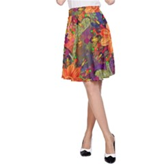 Abstract Flowers Floral Decorative A Line Skirt by Nexatart