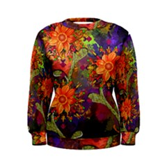 Abstract Flowers Floral Decorative Women s Sweatshirt