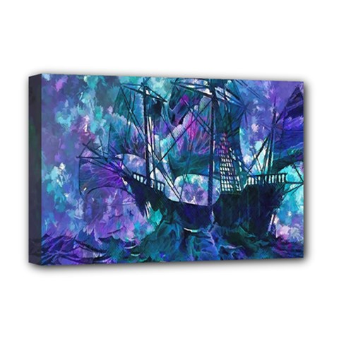 Abstract Ship Water Scape Ocean Deluxe Canvas 18  X 12   by Nexatart