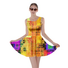 Abstract Squares Background Pattern Skater Dress