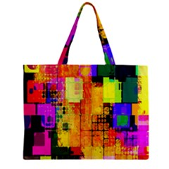 Abstract Squares Background Pattern Zipper Mini Tote Bag