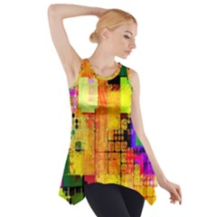 Abstract Squares Background Pattern Side Drop Tank Tunic