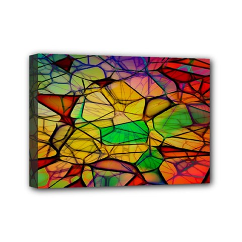 Abstract Squares Triangle Polygon Mini Canvas 7  X 5  by Nexatart