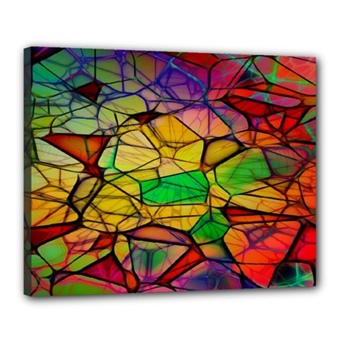Abstract Squares Triangle Polygon Canvas 20  X 16  by Nexatart
