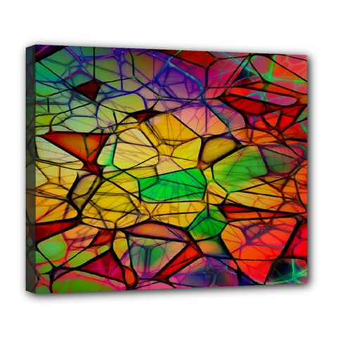 Abstract Squares Triangle Polygon Deluxe Canvas 24  X 20   by Nexatart