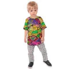 Abstract Squares Triangle Polygon Kids  Raglan Tee by Nexatart