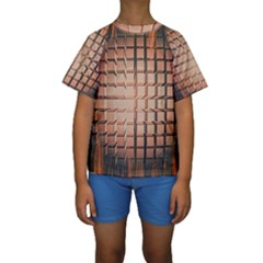 Abstract Texture Background Pattern Kids  Short Sleeve Swimwear