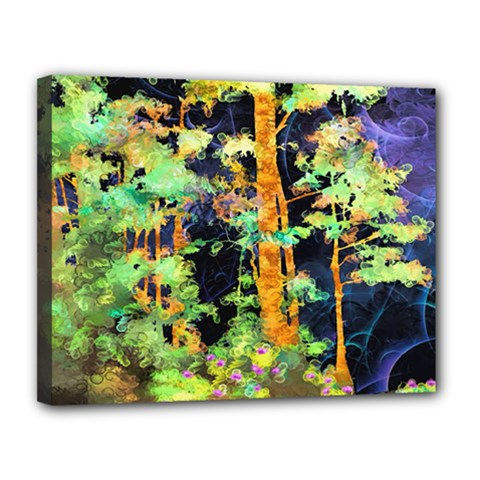 Abstract Trees Flowers Landscape Canvas 14  X 11