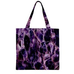 Agate Naturalpurple Stone Zipper Grocery Tote Bag
