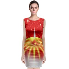 Advent Candle Star Christmas Classic Sleeveless Midi Dress