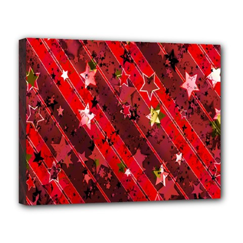 Advent Star Christmas Poinsettia Canvas 14  X 11