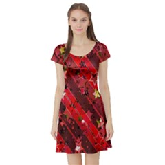 Advent Star Christmas Poinsettia Short Sleeve Skater Dress