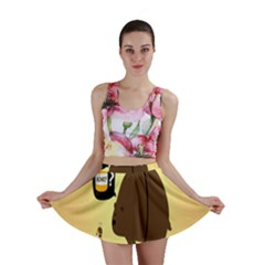 Bear Meet Bee Honey Animals Yellow Brown Mini Skirt