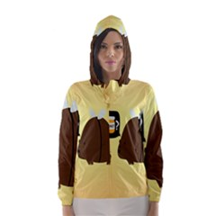 Bear Meet Bee Honey Animals Yellow Brown Hooded Wind Breaker (women)