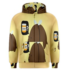 Bear Meet Bee Honey Animals Yellow Brown Men s Zipper Hoodie